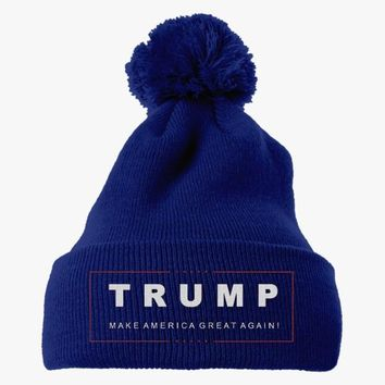 Trump Make America Great Again Embroidered Knit Pom Cap