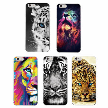 Fashion Lion Tiger panther Leopard Soft TPU Case Coque Fundas For iPhone 7 7Plus 6 6S 6Plus 5 5S SE 5C 4 SAMSUNG GALSXY