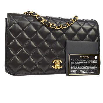 Auth CHANEL Quilted CC Single Chain Shoulder Bag Black Leather VTG GHW JT06587
