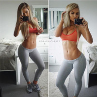 2016 Trending Fashion Women Slim Low Waist Grey Leggings Sports Yoga Gym Training Sweatpants _ 1888