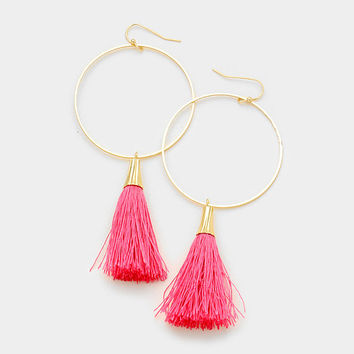 Pink & Gold Round Hoop Thread Tassel Drop Earrings
