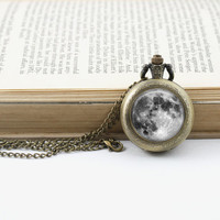 Full Moon  Pocket Watch Necklace,  Antique Bronze Long Watch Necklace