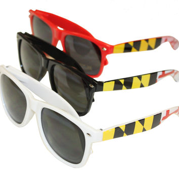 Maryland Flag Stretch Sides (Red, Black, White) / Shades *3 PAIR BUNDLE*