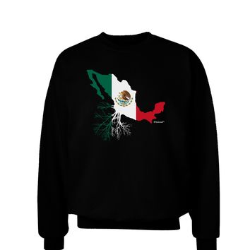 Mexican Roots - Mexico Outline Mexican Flag Adult Dark Sweatshirt by TooLoud
