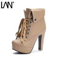 Fashion 2017 New Pu Women Ankle Boots Lace Up Women Martin Boots Sexy Ladies Boots Shoes Plus Size 34-42 Heels 12.5cm