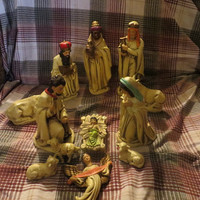 vintage Christmas Nativity Scene Set of 12  Figurines