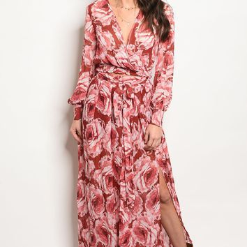 Ladies fashion long sleeve floral print maxi skirt set with a v neckline and side slit