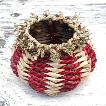 Hawaiian Hand Woven Basket Natural Rustic by HanaMauiCreations