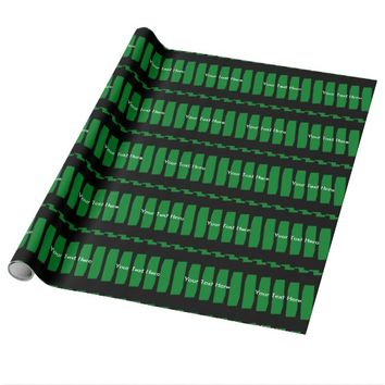 Personalized Wrapping Paper Green & Black Abstract