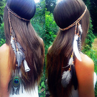 Peacock Feather Beaded Tassel Hair Accessories Hair Rope
