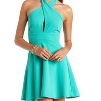 Crossover Halter Skater Dress by Charlotte Russe