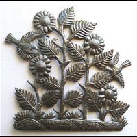 "Sunflowers Metal Wall Hanging - Steel Drum Metal Art from Haiti - Metal Wall Decor - 24"" x 24"""