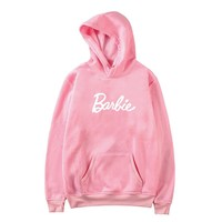 Barbie Letter Harajuku Casual Coat Two Layers Hat 2018 Winter Fleece Pink Pullover Thick Loose Women Hoodies Sweatshirt Female