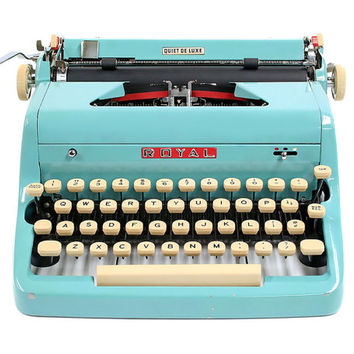 1957 Turquoise Royal Quiet De Luxe Typewriter / Original Case and Vintage Metal Ribbon Spools / Royal Typewriter
