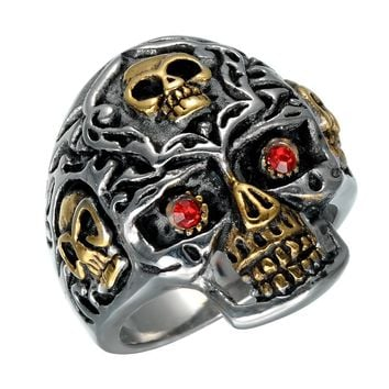 Men's Skull Ring Punk Red Eyes Gold Teeth Rings with Gothic skull for Men Stainless Steel Biker Male Jewelry