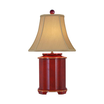 """Chinese Red Lacquer Porcelain Pagoda Style Table Lamp 25"""""""