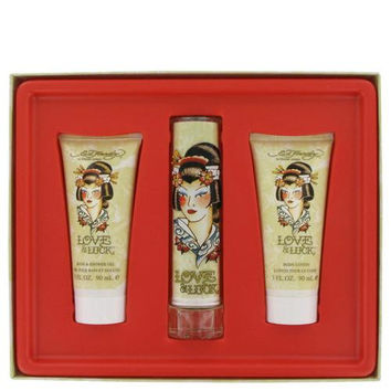 Love & Luck by Christian Audigier Gift Set -- 1.7 oz Eau De Parfum Spray + 3 oz Body Lotion + 3 oz Bath & Shower Gel (Women)