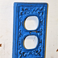 Decorative Electrical Plug in Cover/ Blue Outlet Plate/ Fleur de lis/ Bright Cast Iron/ Painted Metal/ Shabby Chic