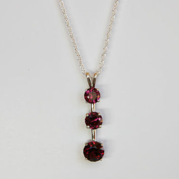 Multi-Faceted Three Raspberry Rhodolite Garnet Pendant Necklace on Sterling Silver Chain