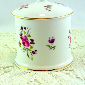 Vintage Crown Staffordshire  Covered Mustard Jar Floral Pattern # 7295