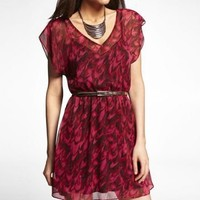 PRINTED DOUBLE V-NECK ELASTIC WAIST DRESS at Express