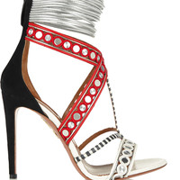 Aquazzura - The Queen embellished leather, suede and elaphe sandals