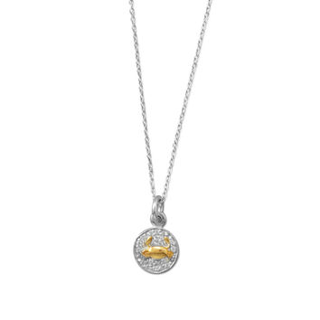 Rhodium Plated Two Tone Zodiac Necklace - Cancer