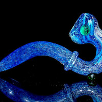 Nothing But Blue Skies... Deep Cerulean Color Changing Glass Sherlock Free Standing Smoking Pipe - Extra Large Fumed Gandalf Bowl