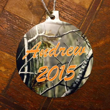 Personalized Aluminum Camo Christmas Ornament