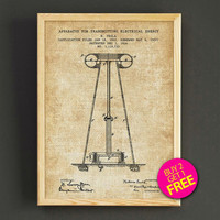 Tesla Transmitting Electrical Energy Patent Print Tesla Blueprint Poster House Wear Wall Art Decor Gift Linen Print - Buy 2 Get FREE -307s2g