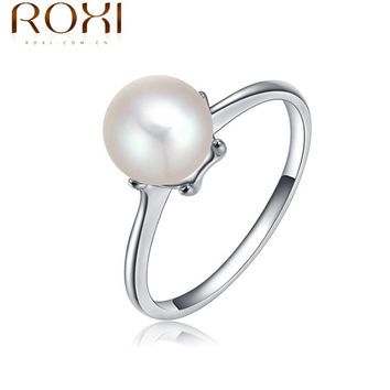 New Trendy Jewelry Luxury Simulated Pearl Ring with White Gold Plated Ring For bijoux women Bague Pour Femme 2010585050