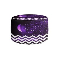 Ottoman Foot Stool Pouf Round or Square from DiaNoche Designs by Monika Strigel Home Decor and Bedroom Ideas - Purple Moon Chevron
