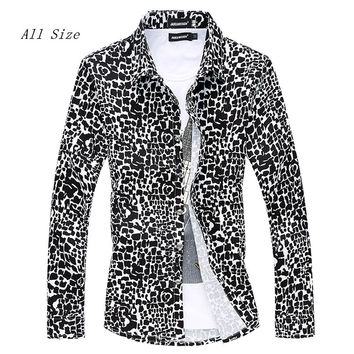 XXXL 4XL 5XL 6XL 2016 Spring Men Shirt Leopard Camisa Masculina Chemise Homme Long Sleeve Casual-shirt For Mens Dress Shirts