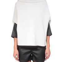 Atos Lombardini Top viscose and wool with eco-leather sleeves | Lindelepalais.com 19453