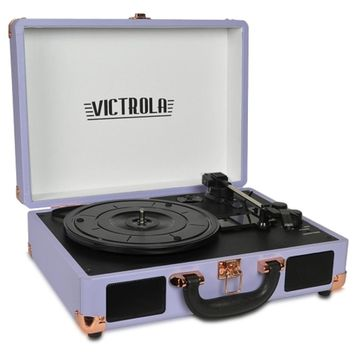 Victrola VSC-550BT 3-Speed Vintage Bluetooth Suitcase Turntable with Built-in Stereo Speakers (Lavender) - B