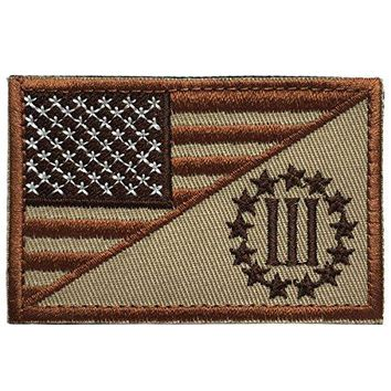 """SpaceAuto USA American Flag w/ Three Percenter 3% Military Tactical Morale Badge Decorative Emblem Patch 3"""" x 1.97"""" - Brown"""