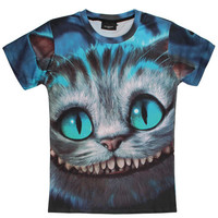 Cat Grinned Print 3D Short Sleeve T-shirt