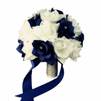 "10"" White and Navy Blue Wedding Bouquet Keepsake Artificial Rose Bouquet"