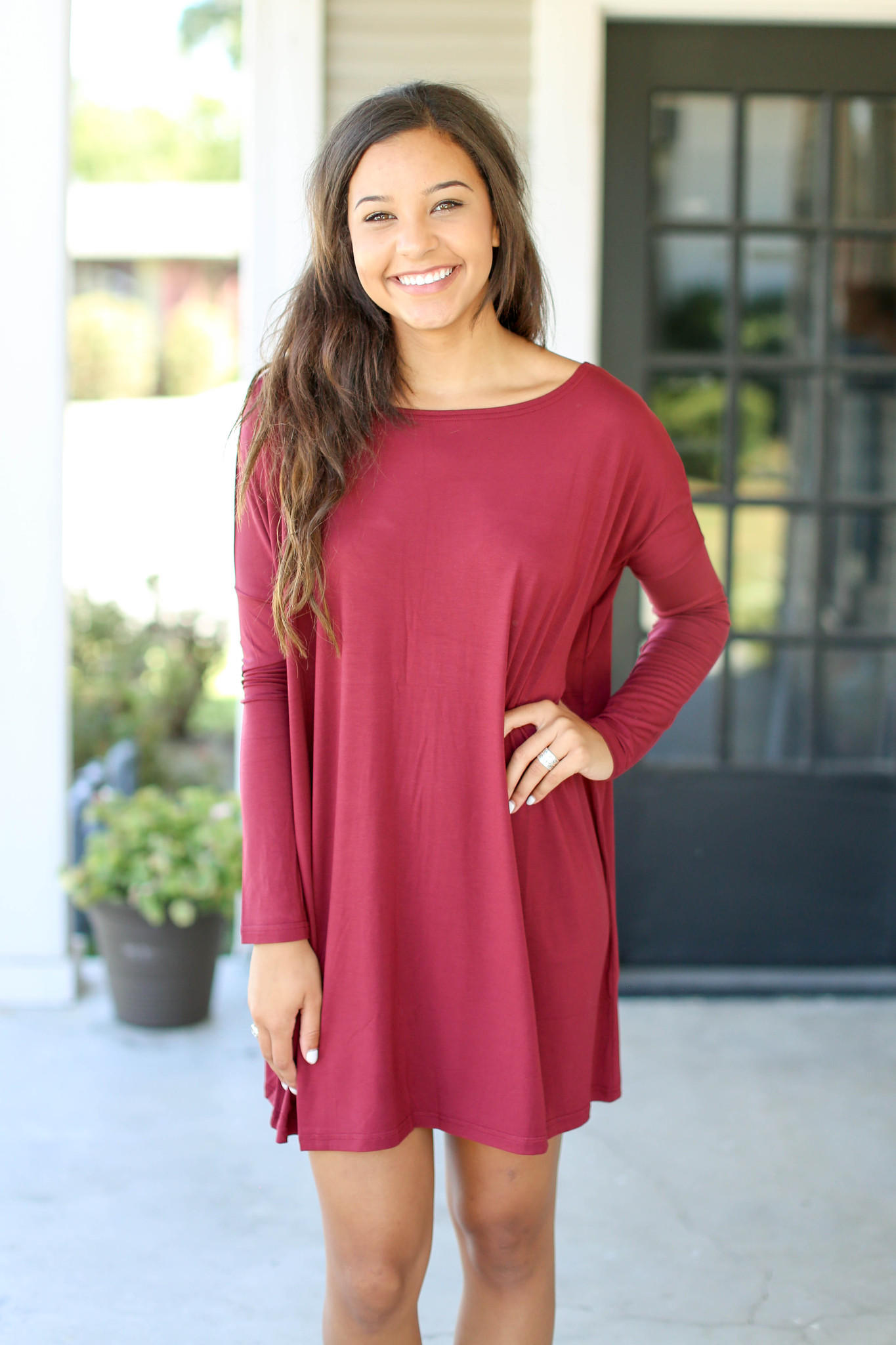 8e62253cda5 Piko Tunic Dress Long Sleeve- Burgundy from Hazel and Olive