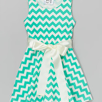 Dreaming Kids Mint & Ivory Chevron Dress