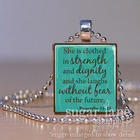 Bible Verse Scripture Necklace - (SA7 - Teal, Brown - She is Clothed in Strength - Proverbs 31:25) - Scrabble Tile Pendant with Chain