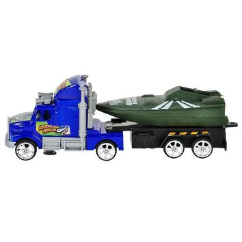"7.5"" Flatbed Truck Set w/ Boat in Tow"