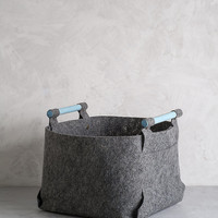 Large Felt Storage Bin with Light Blue Wood Handles, Felt Basket, Storage Basket, LB-04