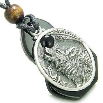 Amulet Howling Wolf Black Onyx Unique Gemstone Centerpiece with Black Onyx Caboc
