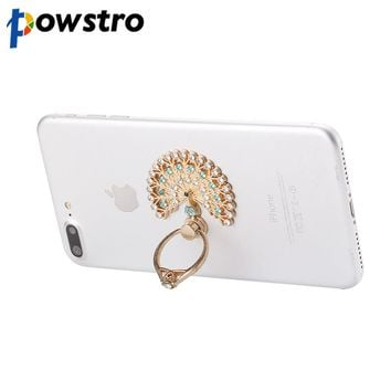 Powstro Universal Luxury Peacock Diamond Finger Ring Phone Holder Mount For iPhone 8 7plus 6s Samsung Mobile Phones Tablet Dock