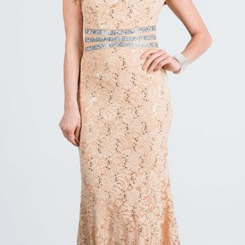 Gold Embellished Off Shoulder Prom Gown Fit and Flare