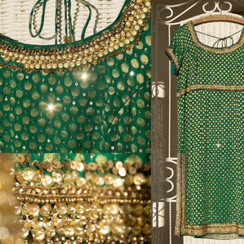 Stunning Vintage India embroidered dress, green / emerald  dress with gold sequins // beaded dress