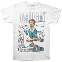 Jimi Hendrix Men's  Newport Pop Fest T-shirt White