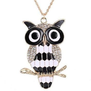 Rhinestone Owl Branch Glazed Pendant Sweater Chain - White And Black