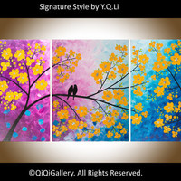 "Abstract Landscape Handmade Painting Large Original Art Canvas Palette Knife Impasto Tree Wall Decor ""Songs of Birds and Scent of Flowers"""